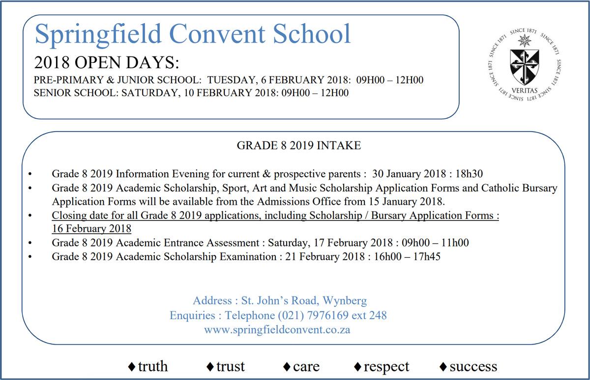 Springfield-Convent-School-2018-Open-Day-Dates